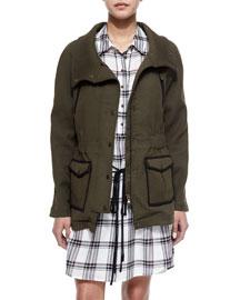 Army Stretch Cotton Zip Jacket