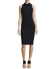 Sleeveless Collared Shirtdress, Black