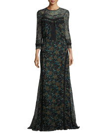 Keene Floral-Print Silk Maxi Dress