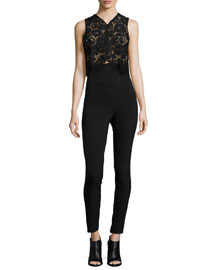 Wright Lace High-Waist Jumpsuit, Black