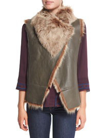 Jessup Leather Vest W/ Shearling