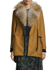 Granite Wool-Cashmere Zip Parka with Fur Collar, Camel