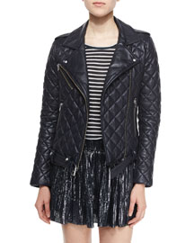 Keroa Quilted Leather Moto Jacket, Navy