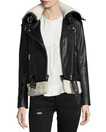 Kolia Leather Jacket with Shearling Fur, Black/White
