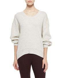 Sevigny Ribbed Arched-Hem Sweater, Ecru