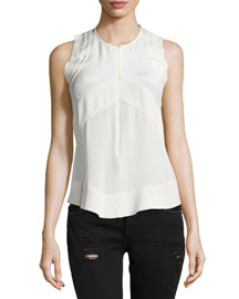 Diamant Sleeveless Zip-Front Top, Ecru