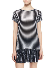 Ludvig Striped Short-Sleeve Tee, Navy/White