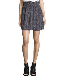 Aldora Silk Paperbag Skirt, Black/White