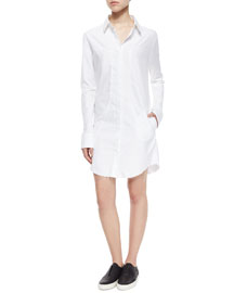 Genevieve Long-Sleeve Shirtdress, White