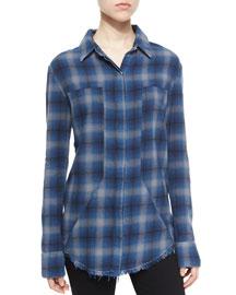 Joplin Plaid Flannel Button-Down Shirt, Outlaw