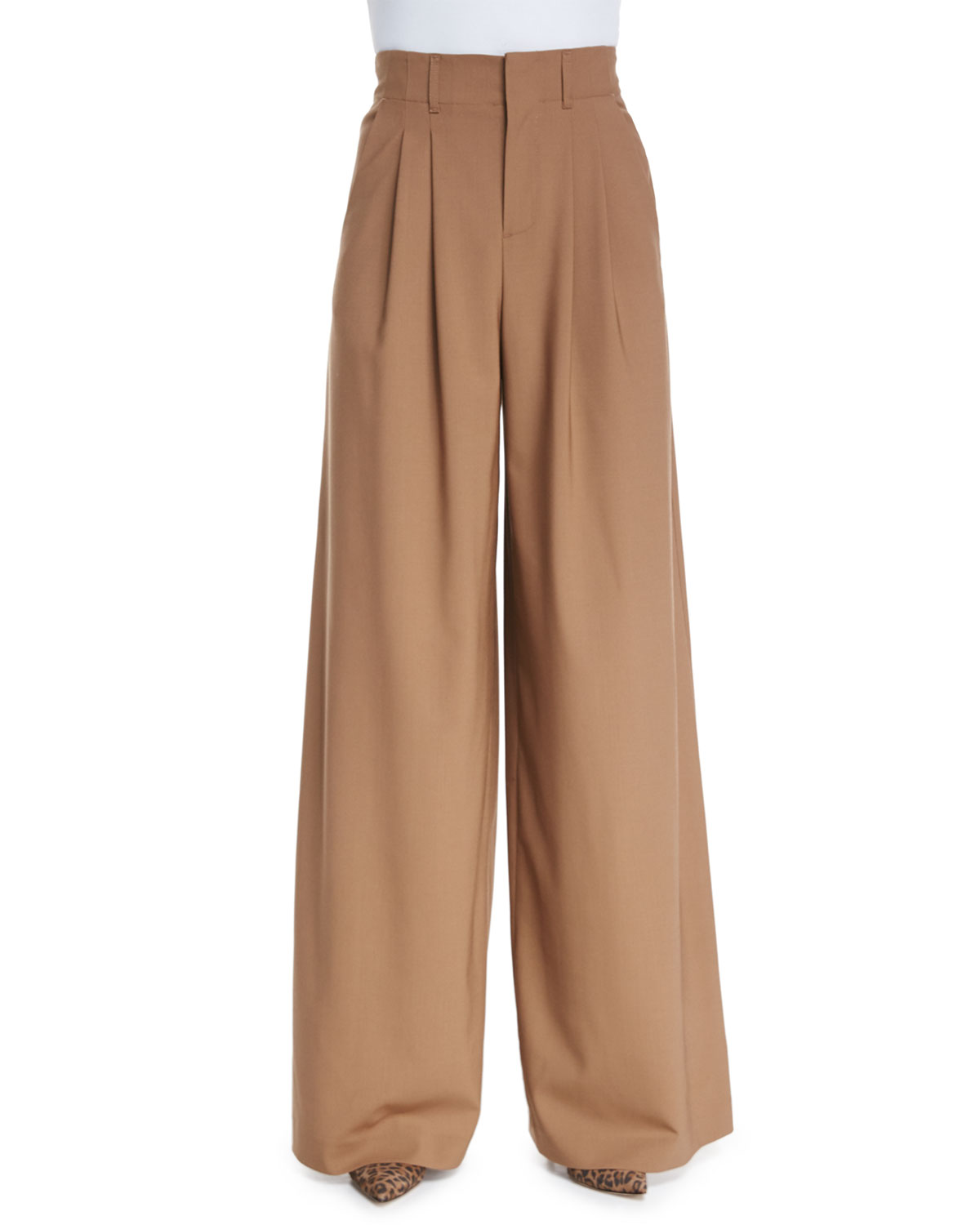 Alice + Olivia High-Waist Pleated Wide-Leg Trousers, , Size: 8 Brown (Camel)