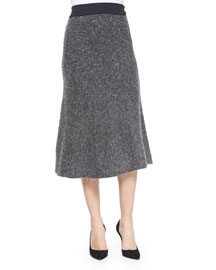 Shine Ribbed Knit A-Line Skirt