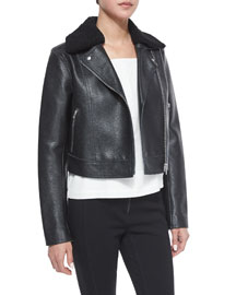 Leather Moto Jacket with Shearling Fur Collar