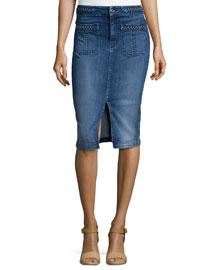 Braid-Trim Denim Pencil Skirt, Vivid Medium Indigo