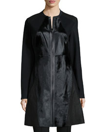 Dawson Leather & Calf-Hair Mid-Length Coat