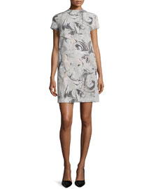Jasneah Printed Short-Sleeve Dress