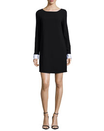 Amszia Long-Sleeve Dress with Removable Cuffs