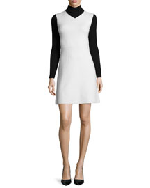 Myrelle Evian Turtleneck Dress, Ivory Ice/Black