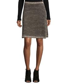 Ribbed Metallic Mesh Skirt