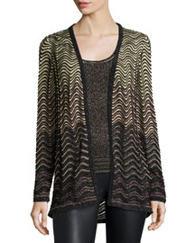 Metallic Ripple-Stitch Cardigan