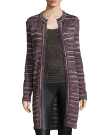 Ripple-Stitch Snap-Front Long Coat