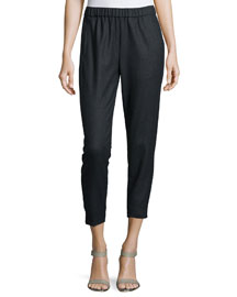 Thorene Flannel Cropped Pull-On Pants