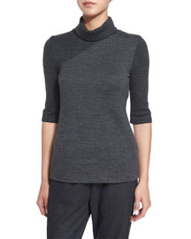 Taj Delfina Two-Tone Turtleneck Sweater