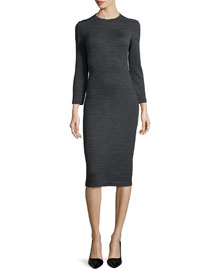 Ekundayo Long Fitted Knit Sheath Dress