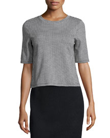 Hesha Oregon Half-Sleeve Boxy Top, Black/White
