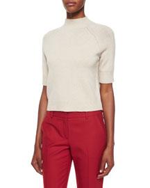 Jodi B Half-Sleeve Cashmere Sweater
