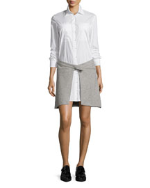 Shirtdress with Speckled Wrap-Skirt