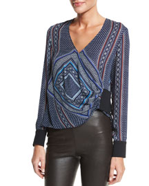 Wrap-Front Long-Sleeve Blouse