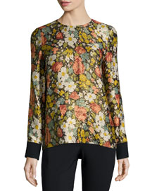 Floral Metallic Long-Sleeve Blouse