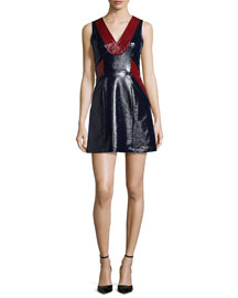 Sleeveless Patent-Coated Sheath Dress, Navy/Burgundy