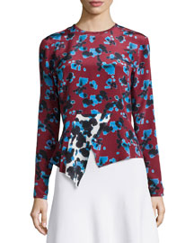 Penelope Cropped Ink Spot Top, Red