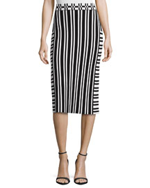 Camilla Striped Knit Pencil Skirt
