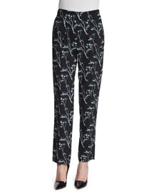 Floral Silk Ankle Pants, Black