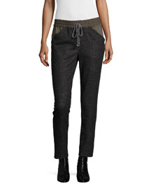 Jersey Combo Tie-Waist Pants, Charcoal