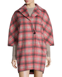 Plaid Button-Front Asymmetric Coat, Pink