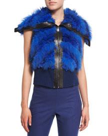 Karina Fur Vest W/Leather Trim