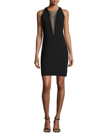 Sleeveless Illusion Beaded V-Neck Cocktail Dress