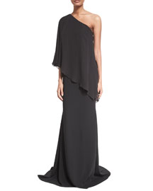 One-Shoulder Draped Gown, Black