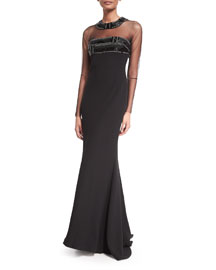 Long-Sleeve Illusion-Neck Beaded-Top Gown