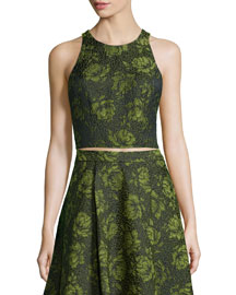 Sleeveless Floral Jacquard Crop Top