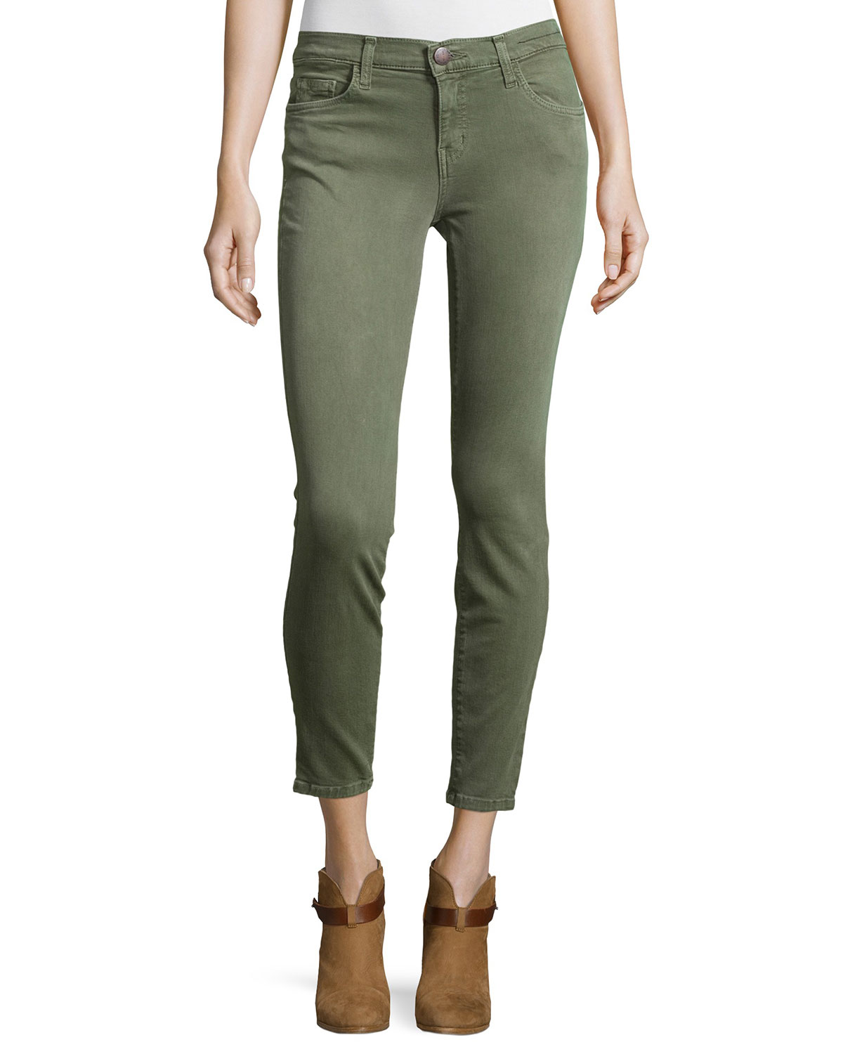 Current/Elliott The Stiletto Cropped Skinny Jeans, Army Green, Size: 31