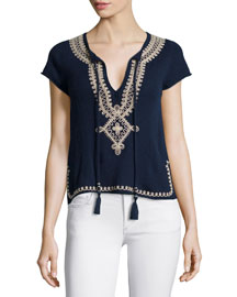 Solney Embroidered Cashmere Sweater, Navy