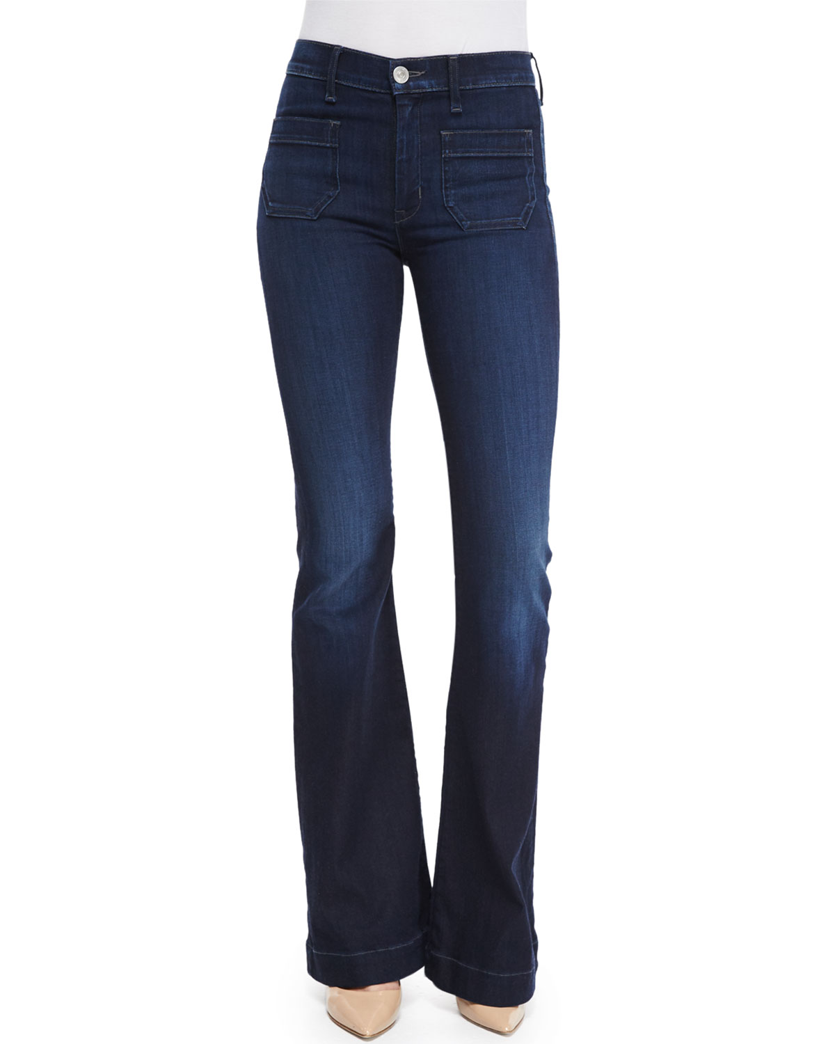 Hudson Taylor High-Rise Flare-Leg Jeans, Rogue Waves, Size: 26, Rouge Waves
