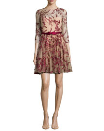 3/4-Sleeve Tulle Fit-&-Flare Dress, Red