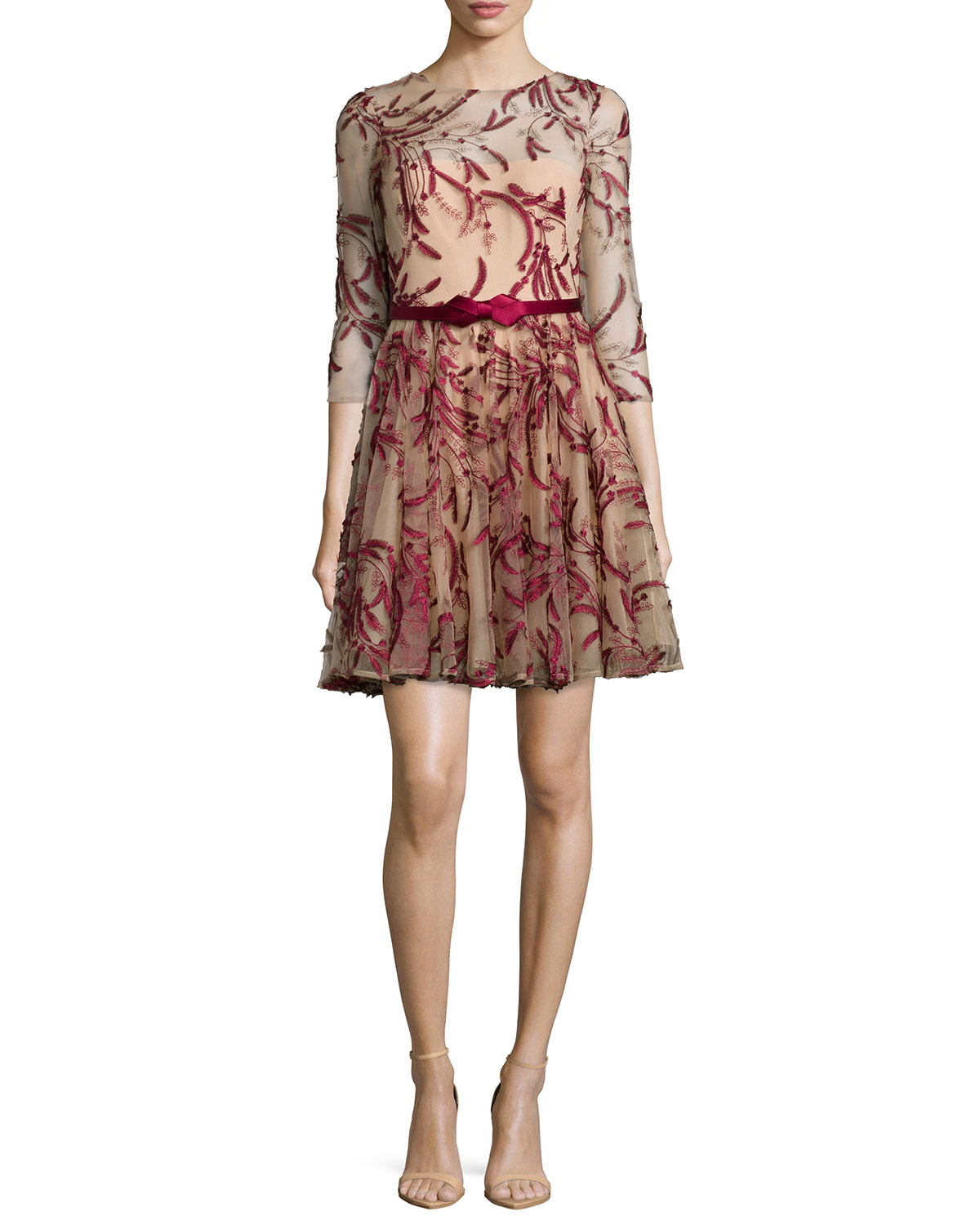 Marchesa Notte 3/4-Sleeve Tulle Fit-&-Flare Dress, Red, Size: 0