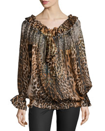 Ruler of the Underworld Animal-Print Long-Sleeve Top
